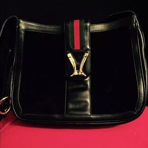 GUCCI Vintage Black Equestrian Shoulder Bag